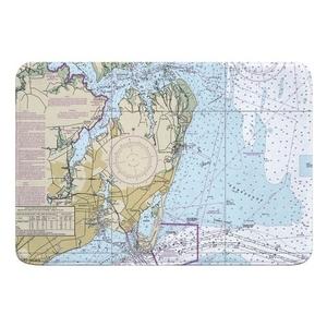 Hampton, VA Nautical Chart Memory Foam Bath Mat