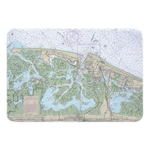 Brigantine, Atlantic City, NJ Nautical Chart Memory Foam Bath Mat