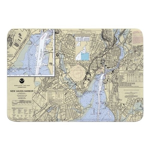 New Haven, CT Nautical Chart Memory Foam Bath Mat