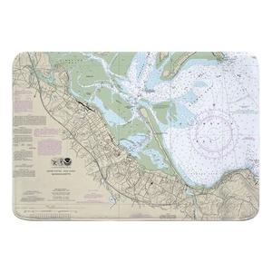 Plymouth, MA Nautical Chart Memory Foam Bath Mat