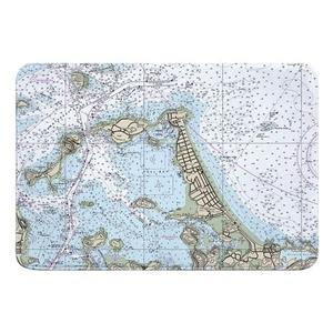 Hull, Nantasket Beach, MA Nautical Chart Memory Foam Bath Mat