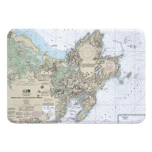 Cape Ann, MA Nautical Chart Memory Foam Bath Mat