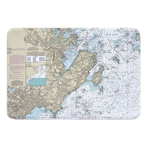 Marblehead, Salem, MA Nautical Chart Memory Foam Bath Mat
