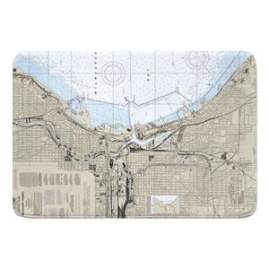 Milwaukee, WI Nautical Chart Memory Foam Bath Mat