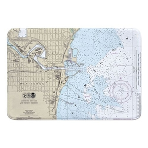 Manitowoc, WI Nautical Chart Memory Foam Bath Mat