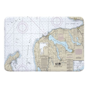 Charlevoix, MI Nautical Chart Memory Foam Bath Mat