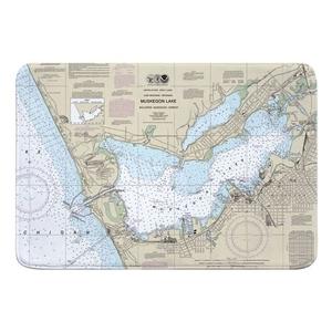 Muskegon, MI Nautical Chart Memory Foam Bath Mat