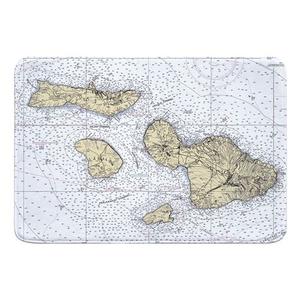 Molokai, Lanai, Maui, Kahoolawe, HI Nautical Chart Memory Foam Bath Mat