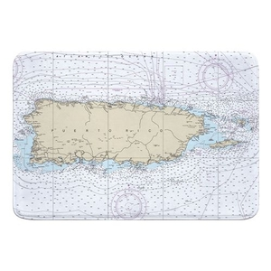 Puerto Rico, Vieques, Culebra Nautical Chart Memory Foam Bath Mat