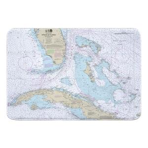 Straits of Florida Nautical Chart Memory Foam Bath Mat