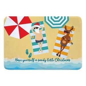 Beach Santa & Reindeer Christmas Memory Foam Bath Mat