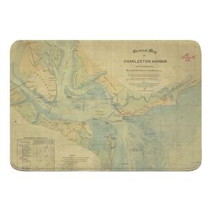 Charleston Harbor, SC, C. 1865 Vintage Nautical Chart Memory Foam Bath Mat