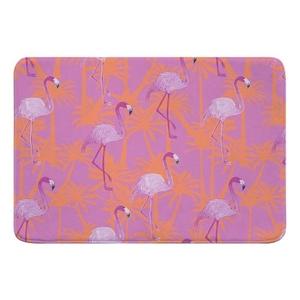 Pink Flamingos on Pink Memory Foam Bath Mat