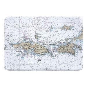 St. Thomas, St. John, USVI Nautical Chart Memory Foam Bath Mat