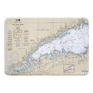Long Island Sound (WESTERN), NY Nautical Chart Memory Foam Bath Mat