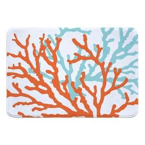 Coral Duo on White Memory Foam Bath Mat