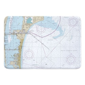 Cape Canaveral, Cocoa Beach, FL Nautical Chart Memory Foam Bath Mat