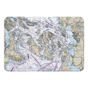 San Juan Islands, Bellingham, Anacortes, WA Nautical Chart Memory Foam Bath Mat