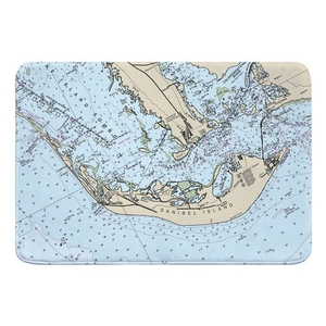 Sanibel Island, FL (close up) Nautical Chart Memory Foam Bath Mat