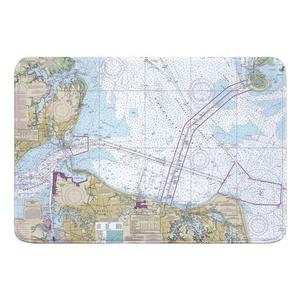 Chesapeake Bay; Cape Charles to Norfolk Harbor, VA Nautical Chart Memory Foam Bath Mat