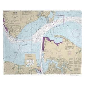 Hampton Roads, Newport News, VA Nautical Chart Fleece Throw Blanket