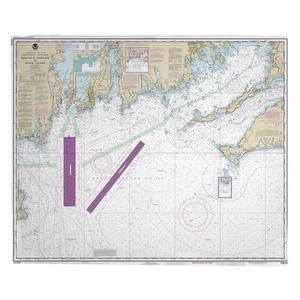 Martha's Vineyard, MA to Block Island, RI Nautical Chart Fleece Throw Blanket