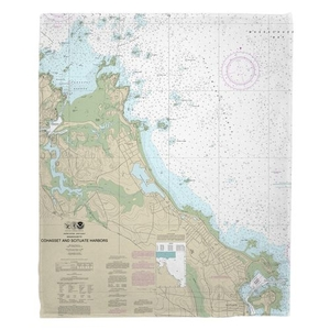 Cohasset and Scituate Harbors, MA Nautical Chart Fleece Throw Blanket