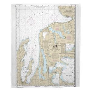 Grand Traverse Bay to Little Traverse Bay, MI Nautical Chart Fleece Throw Blanket
