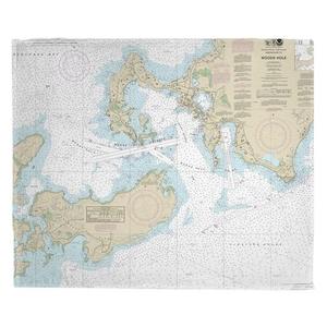 Woods Hole, MA Nautical Chart Fleece Throw Blanket