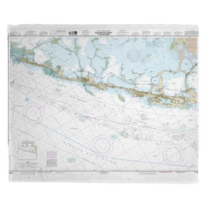 Upper Matecumbe, Islamorada, Key Largo, FL Nautical Chart Fleece Throw Blanket