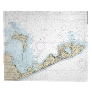 Gardiners Island, Montauk, NY Nautical Chart Fleece Throw Blanket