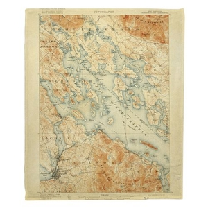 Lake Winnipesaukee, NH, C. 1907 Vintage Topo Map Fleece Throw Blanket