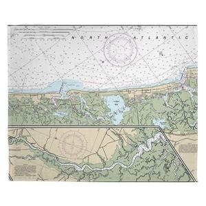 Corson Inlet, Sea Isle City, NJ Nautical Chart Fleece Throw Blanket