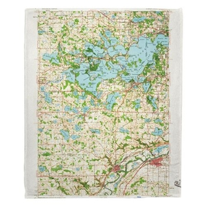 Lake Minnetonka, MN (1958) Topo Map Fleece Throw Blanket