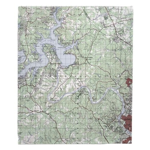 Lake Travis, TX Topo Map Fleece Throw Blanket