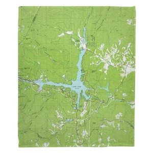 Lake Lure, NC (1982) Topo Map Fleece Throw Blanket