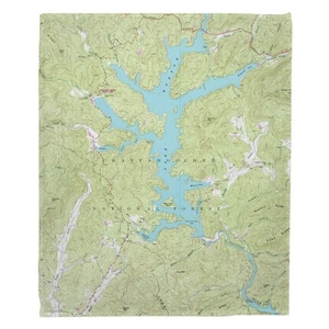 Lake Burton, GA (1957) Topo Map Fleece Throw Blanket