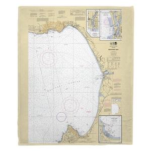 Monterey Bay, CA Nautical Chart Fleece Throw Blanket