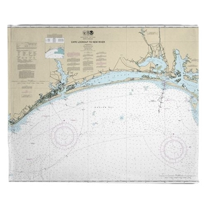 Cape Lookout to New River, NC Nauitcal Chart Fleece Throw Blanket