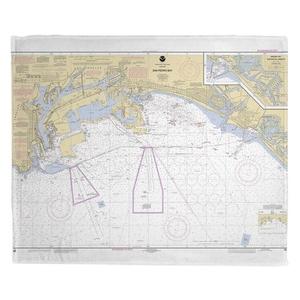 San Pedro Bay, CA Nautical Chart Fleece Throw Blanket