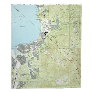 South Lake Tahoe, CA (1992) Topo Map Fleece Throw Blanket