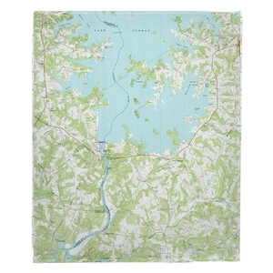 Lake Norman South, NC (1970) Topo Map Fleece Throw Blanket