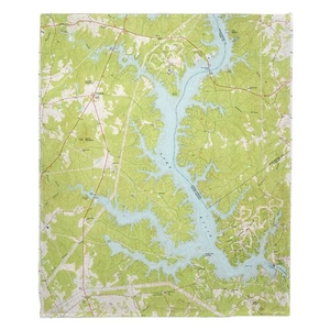 Lake Wylie, SC (1973) Topo Map Fleece Throw Blanket