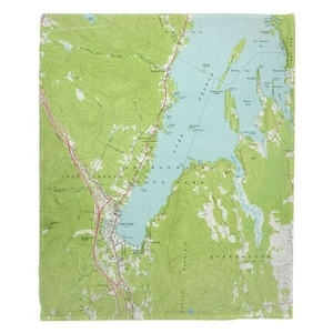 Lake George, NY (1966) Topo Map Fleece Throw Blanket