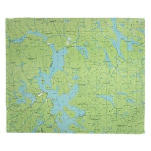 Moosehead Lake, ME (1985) Topo Map Fleece Throw Blanket