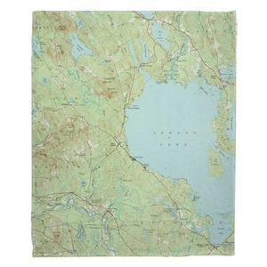 Sebago Lake, ME (1942) Topo Map Fleece Throw Blanket