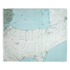 Lake St. Clair South, MI (1985) Topo Map Fleece Throw Blanket