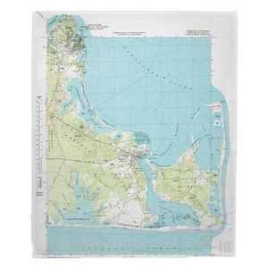 Edgartown, MA (1972) Topo Map Fleece Throw Blanket