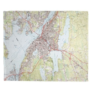 Fall River, MA (1985) Topo Map Fleece Throw Blanket