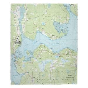 Lamoine, Salsbury Cove, ME (1981) Topo Map Fleece Throw Blanket